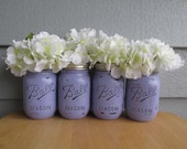 Painted and Distressed Ball Mason Jars- Pale/Pastel/Light Purple -Set of 4-Flower Vases, Rustic Wedding, Centerpieces