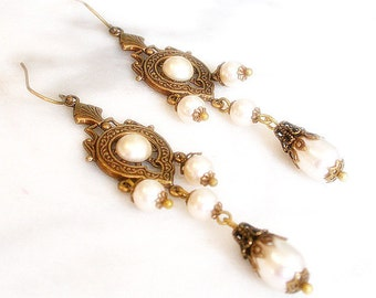 Victorian Chandelier Pearl Earrings - Swarovski pearls on Brass - Wedding Jewelry - Bridal Earrings