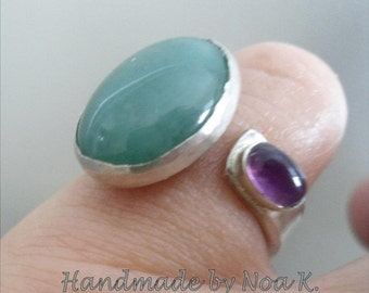 Aventurine Amethyst ring - Open Band ring - Handmade Ring - Ready to Ship - Artistic jewelry - Made in Israel