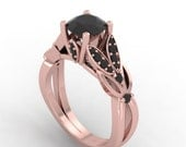 rose gold black diamond engagement ring, black diamond wedding ring,style 27RGBL