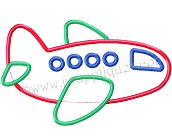 Instant Download - Airplane Embroidery Applique Design 4x4, 5x7, and 6x10 hoops