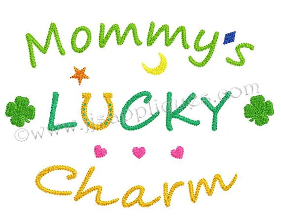 Instant Download St Patricks Day Design - Mommy's Lucky Charm Embroidery Design - Mommy's Lucky Charm 4x4, 5x7, 6x10 hoop sizes
