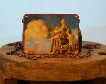 Maxfield Parrish jewelry art necklace Contentment mixed media jewelry