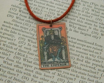Tarot pendant tarot jewelry The Emperor mixed media jewelry