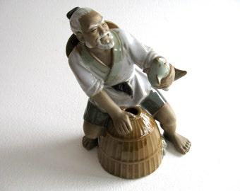 Vintage Mud Figure, Oriental fisherman