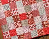 Pink Brown Red, Boho Baby Girl Quilt, Chevron, Handmade Nursery Bedding