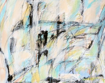 6-12-14 (abstract expressionist painting, black, white, blue, green, cream, red, purple)