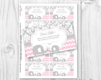 Baby Shower girl diaper raffle cards elephant soft pink and grey damask and chevron