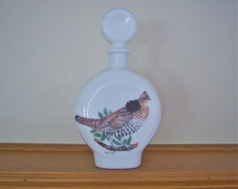 "Vintage Liquor Decanter, Milk Glass, 1969 ""Field Birds"" by A. Singer, Home Decor, Collectable, Father's Day Gift"
