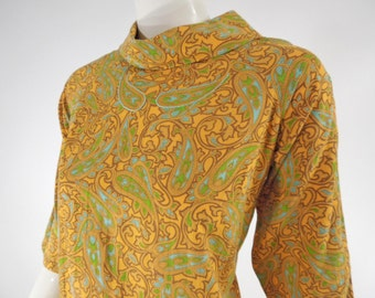 60s Yellow & Blue Paisley Roll Neck Shift Dress - med, lg
