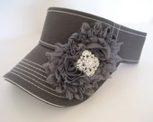 Adorable Grey White Stitched Golf Sun Visor with Grey Chiffon Flowers and Rhinestone Brooch Accent