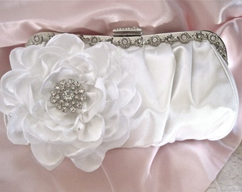 Bridal White Silk Crystal Wedding Bridal Clutch with Handmade White Satin Flower and Gorgeous Rhinestone Accent