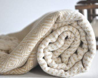 Turkish Towel Chevron sprinkled Pattern Hand loomed Peshtemal towel in ivory taupe color Cotton Woven pure soft