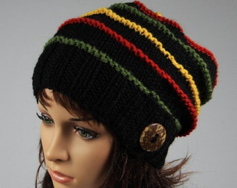 Hand knitted oversized slouchy beanie for women. A lovely multi coloured stripe ladies hat.