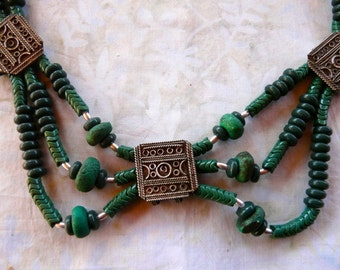 22 Inch Vintage Indonesian Green Jasper and Metal Necklace