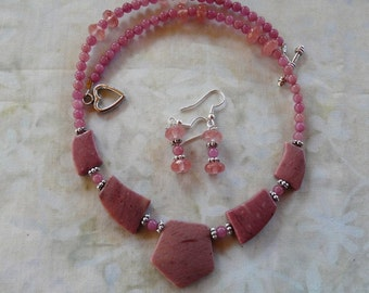 18 Inch Rose Rhodochrosite Pendant Necklace with Earrings