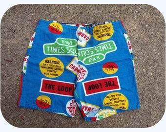 vintage 1960s novelty print mens swim trunks shorts medium 34 cotton