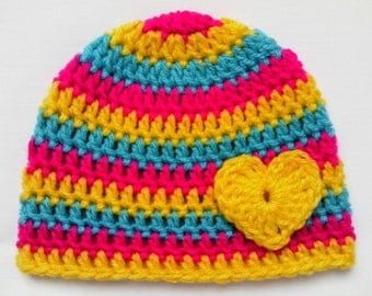 SALE Crochet Baby Kids Toddler Hat Beanie children gift heart