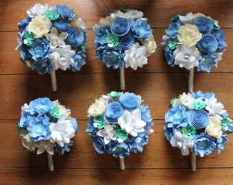Paper Flower Bouquet Set - Wedding Flowers, bridal bouquet, bridesmaids boquets, wedding flower package