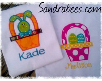 Easter BASKET bunny or egges CUSTOM Applique SHIRT Personalized boutique girls hairbow Boy or girl