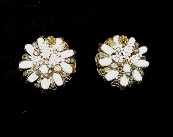 Signed Jonne' Milk Glass Earrings Rhinestone and White Bead Accents Gold Clips SPECTACULAR!