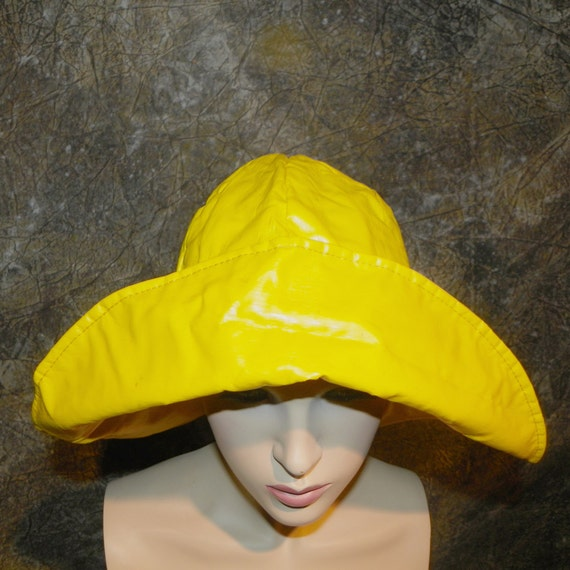 Hat Yellow Rain Slicker Style Adult Size Medium Rain Hat f4fef9f51fe