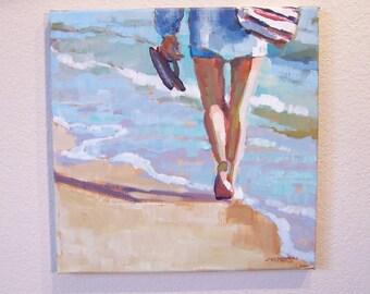 "Original painting ""Perfect Commute"", beach scene, 12"" x 12"""