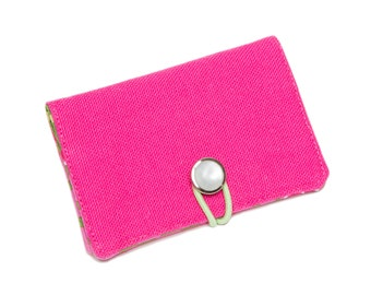 Clearance! Foundation Bifold Organic Canvas Wallet with Vintage Button Closure: {Pink}