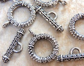 10 antique silver toggle clasps - fancy textured finish - 17mm x 22mm