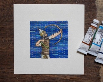 Tigris Euphrates Board Game Art Archer - blue and gold - unique gift for board game fan