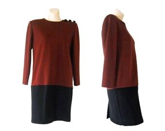 Avant Garde Dress Maroon Dress Two Tone Dress Shift Dress Long Sleeve Dress 80s Dress Womens Black Dress Fall Dress Strong Shoulder Pads