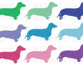 Silhouette  Weiner Dogs, Dachshunds, Clipart, Digital Clip Art, Digital scrapbooking, card making, invitations