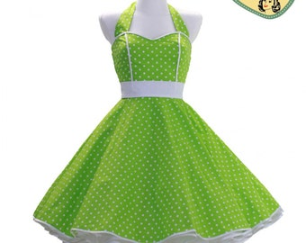 50's vintage dress full skirt green white polka dots sweetheart Tailor Made after your measurements #0012