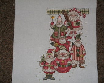 Hand made counted cross stitch Christmas stocking