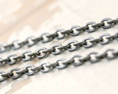 6ft Petite Flat Oval Stainless Steel 3mm x 4mm Cable Chain, Flattened Link Unsoldered 20g
