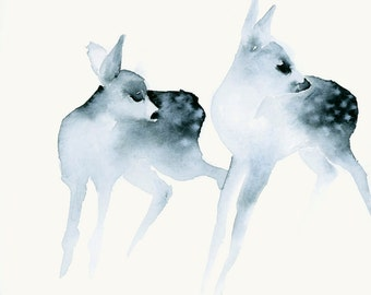 Watercolor Artwork Ghost Fawns Fine Art Print from Original Watercolor Painting