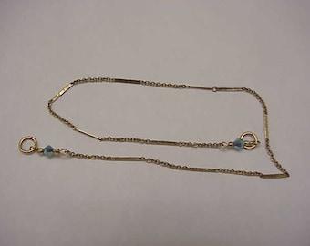 Estate Vintage 10k Yellow Gold Ankle Bracelet, 1950s