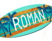 Beach Themed Surfboard Sign - Personalized Beach Bathroom Decor - 18 inch