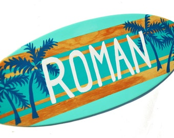 Surfboard Sign, 18 inch Surfboard Wall Art, Beach Wedding Decor, Personalized Beach Sign