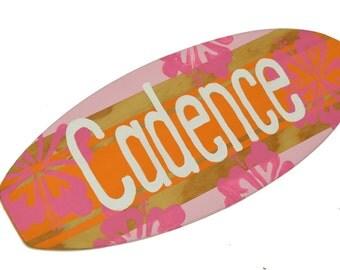 Surf Board Sign, Girls Pink and Orange Surfboard Wall Art, Baby Surfer Nursery Room Surfing Decoration