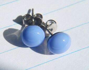 Blue glass post earrings. Handmade glass jewellery.