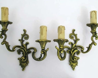Wall Lights - Pair of Heavy French Vintage Double Sconce Wall Lights