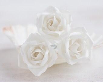 71_White flower hair pins, Hair accessories, Rose hair pins, Hair clips roses, Hair barrettes flowers Rose barrette Wedding hair accessories