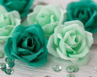71_Green hair accessories, Wedding hair pins, Green wedding, Mint hair accessories, Rose pins, Hair pins, Hair clips flowers, Rose Barrettes