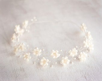 53_Pastel flower halo, Floral halo, Ivory halo, Hair circlet, Hair accessories halo, Wedding halo, Bridal flower halo, Ivory halo, Headband.