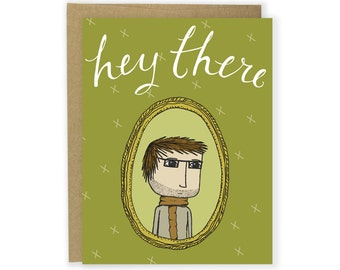 Card - Hey There Scarf Boy - Hello Card, Thank You Card, Birthday Card, Any Occasion Card, Note Card, Notecard, Illustrated Card Quirky