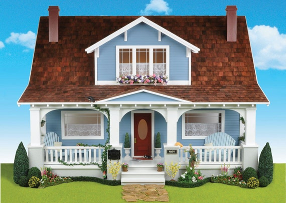 Charming Bungalow Style Dollhouse Kit, Cozy Cottage, Scale One Inch