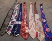 Lot of  19 1940s, 1950s Neck Ties, Hand Painted, Silk