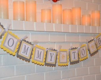Mommy to be banner, elephant banner, grey and yellow