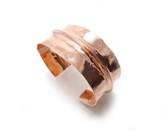 Wide Copper Cuff - Large Copper Rectangle Bracelet - Creased Copper Cuff - Forged Bracelet - Rustic Bracelet - Textured Cuff -  Rust Colored